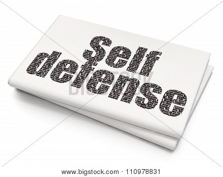Security concept: Self Defense on Blank Newspaper background