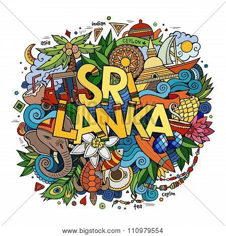 Sri Lanka hand lettering and doodles elements