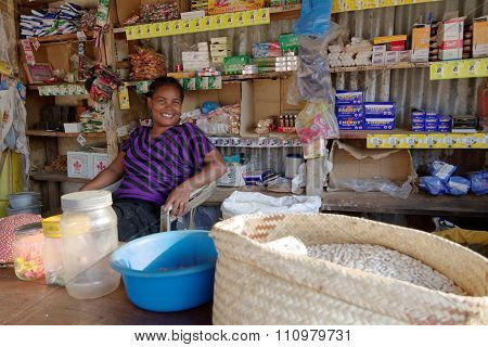 Berevo, Madagascar, November 19, 2015 : Small Store In The Village. The Most Important Crop Of The R