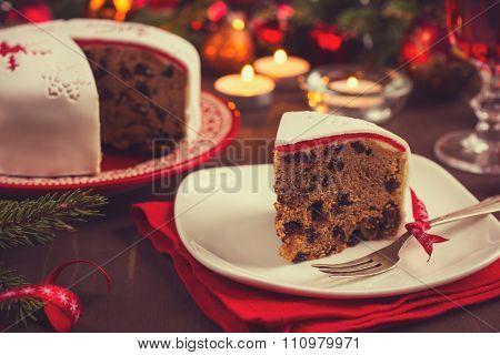 Traditional Fruitcake On  Christmas Table