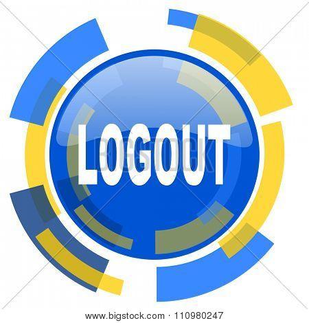 logout blue yellow glossy web icon