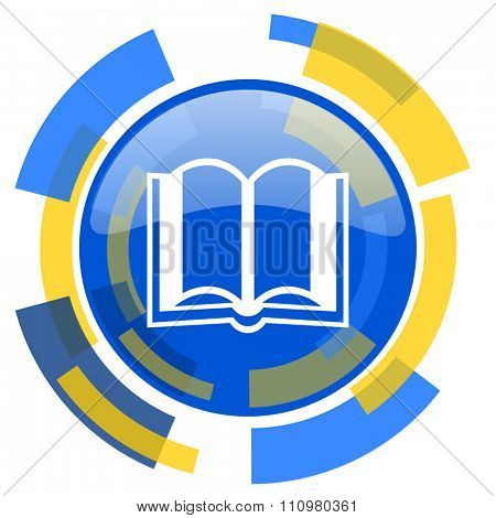 book blue yellow glossy web icon