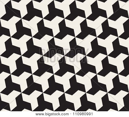 Vector Seamless Black And White  Geometric Triangle Shape Tessellation Pattern