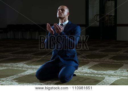 Businessman Prayer At Mosque