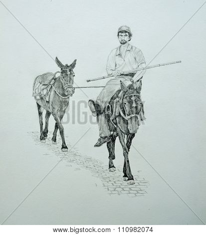 Pencil Drawing of a man sitting on a donkey.