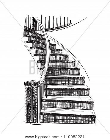 Drawn Staircase Sketch.