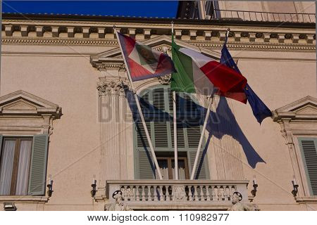 Architectural Close Up Of Quirinal Palace Balcony