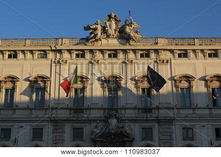 Palazzo Della Consulta Frontal Facade In Rome