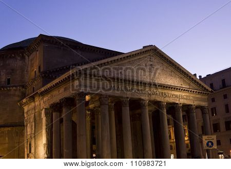 Pantheon Building At Twilight In Rome