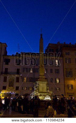 People At Night In Piazza Della Rotonda In Rome