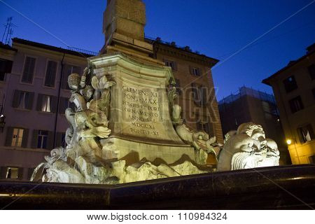 Architectural Close Up Of The Fountain Of The Pantheon In Rome
