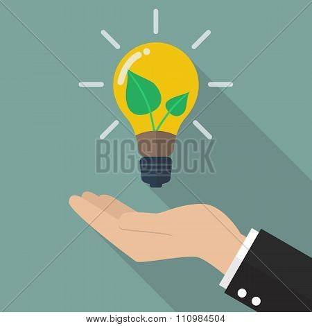 Hand Holding Green Energy Icon