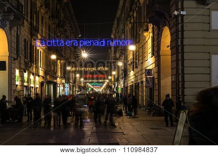Light and Art in via Garibaldi in Turin, Italy