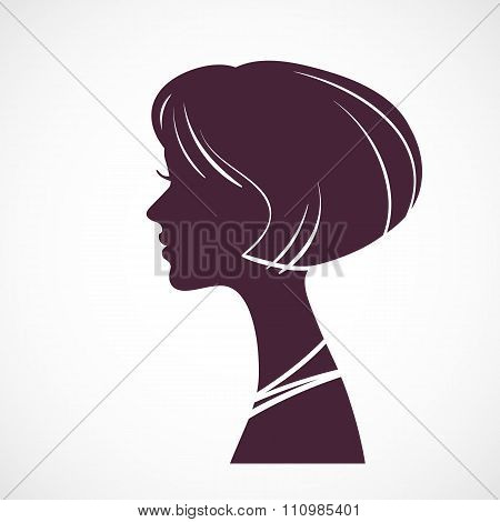 Girl silhouette head