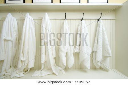 Locker Room With Bathrobes Towels