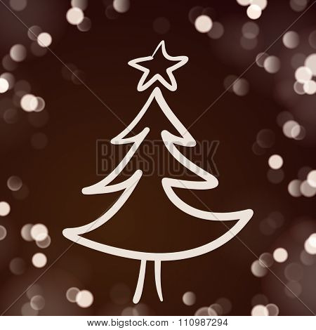 Hand Drawn Christmas Tree on the Dark Brown Background with Lights