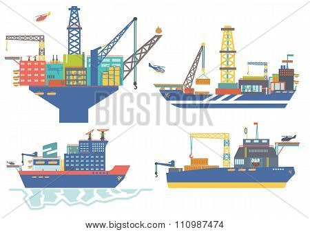 Oil platform, drillship, oil and gas barge, icebreaker vector il