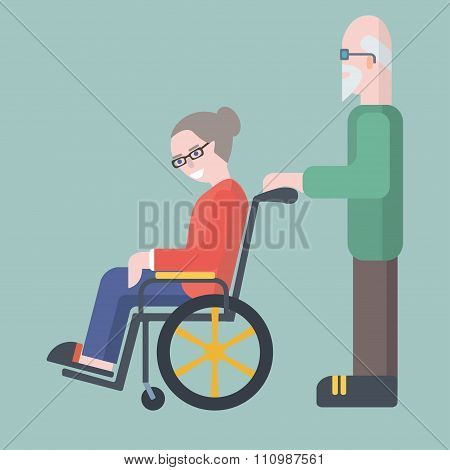 Old man take care of elderly woman on wheelchair vector illustra