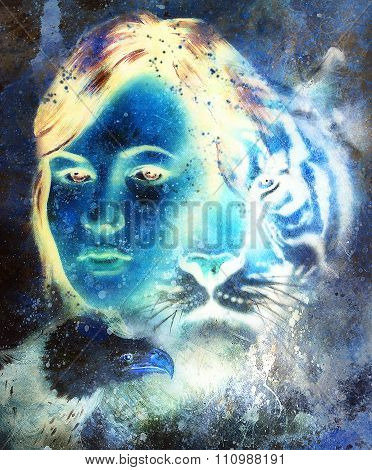 painting of a tiger and eagle head and woman goddess  portrait on colored abstract background, compu