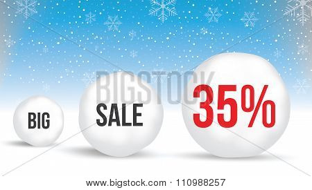 35  Percent, Sale Background With Snowballs And Snow. Sale. Winter Sale. Christmas Sale. New Year Sa
