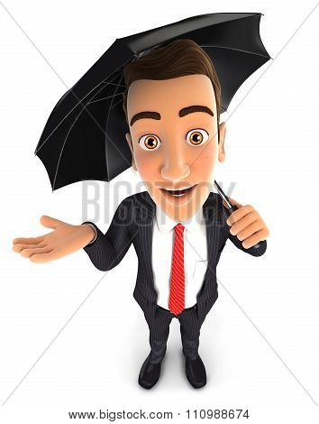 3d businessman with an umbrella