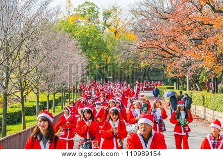 Osaka Japan - November 29 : Santa Run for Christmas in Osaka Japan
