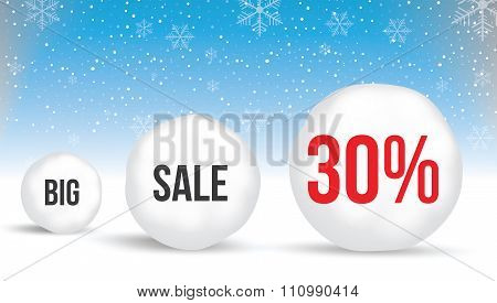 30  Percent, Sale Background With Snowballs And Snow. Sale. Winter Sale. Christmas Sale. New Year Sa