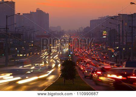 Belarus, Minsk - October 15 2015: Evening road traffic in Minsk