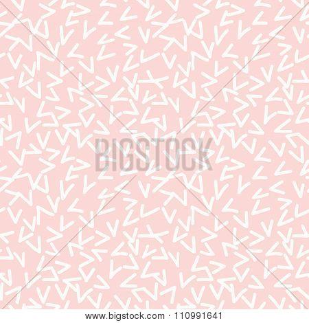 Hand drawn seamless rose and white random checkmark texture