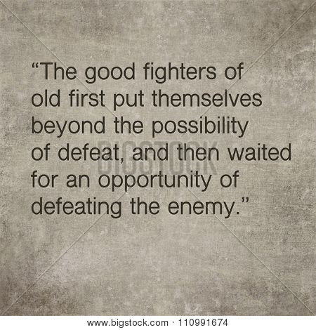 Inspirational quote by ancient Chinese philosopher Sun Tzu on earthy background