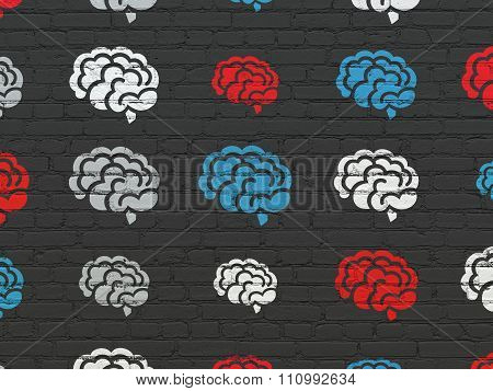 Health concept: Brain icons on wall background