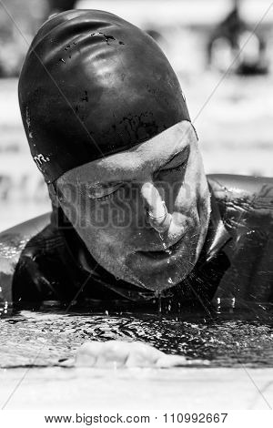 Freediver Getting Out Of The Water And Tbreathing After Minutes Of Static Apnea