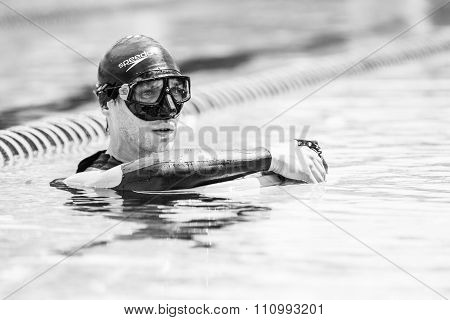 Portrait Of A Safety Staff Into Water