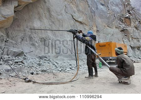 SRINAGAR â?? LEH ROAD, INDIA - JUNE 11, 2015:  Preparation for explosive works on construction of Srinagar â?? Leh road in the Himalayas in Jammu & Kashmir, India.