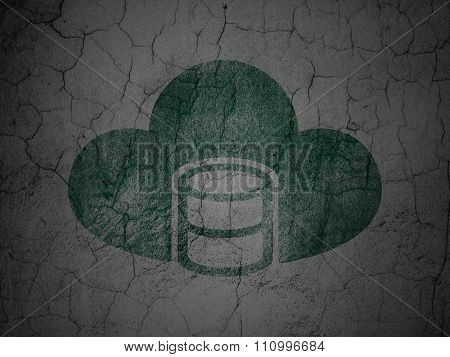 Cloud networking concept: Database With Cloud on grunge wall background