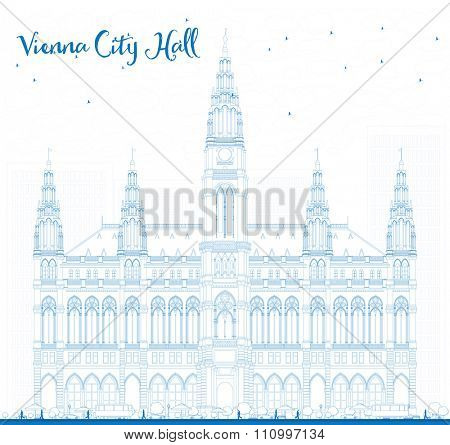 Outline Vienna City Hall in blue color. Vector illustration. Business travel and tourism concept with historic buildings. Image for presentation, banner, placard and web site.