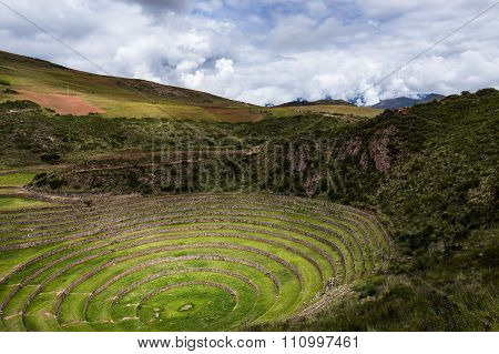 Inca circular terraces in Moray in the Sacred Valley Peru.