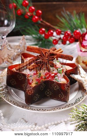 Star Shaped Cake With Dried Fruits  For Christmas