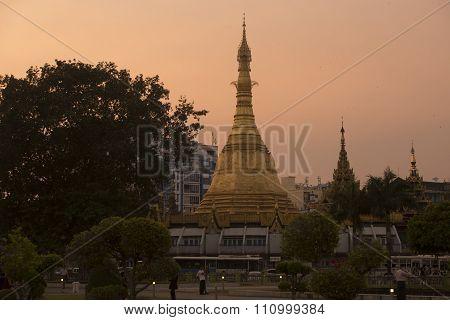 Asia Myanmar Yangon Sule Paya Pagoda