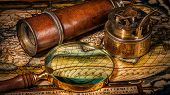 Постер, плакат: Travel geography navigation concept background panorama of old vintage retro compass with sundial