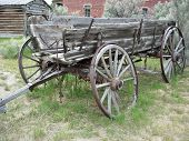 image of ox wagon  - an old wagon abandoned on the trail - JPG