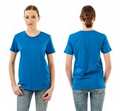 Serious Woman With Blank Blue Shirt