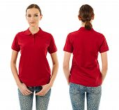 Serious Woman With Blank Red Polo Shirt