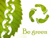 picture of carbon-footprint  - Footprint recycle sign and green leaf with foot carbon prints - JPG
