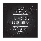Christmas greeting card with text on chalkboard background poster