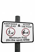 stock photo of pooper  - warning sign for all dog owners to scoop the poop with a clipping path - JPG