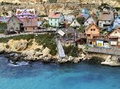 stock photo of popeye  - old wooden fishing village houses and dwellings - JPG