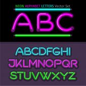 Neon Alphabet Font Style Flat Design poster