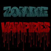 Постер, плакат: Zombie and vampire Text and Silhouettes Vector