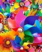 picture of color wheel  - colorful toy windmills and other types of toys - JPG